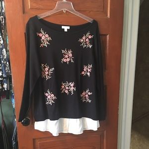 Charter Club Embroidered Sweater, 1x